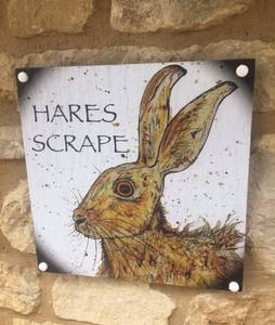 Hares Scrape Door Sign